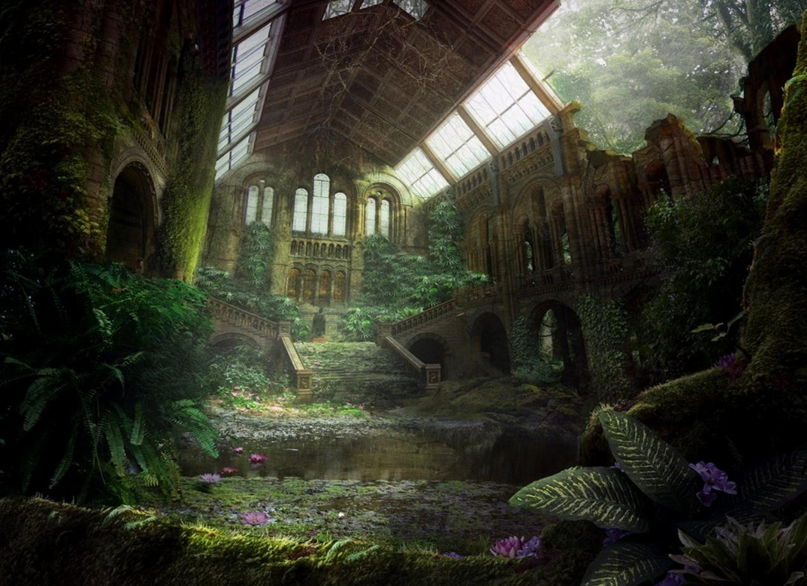 Beautiful Fantasy Garden Inside The Mystic Sanctuary Wallpaper