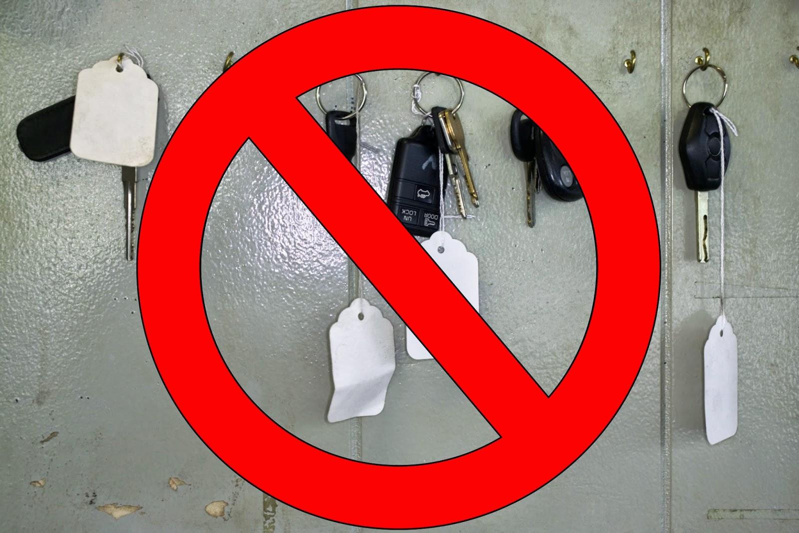 "keys with ""NO"" symbol"