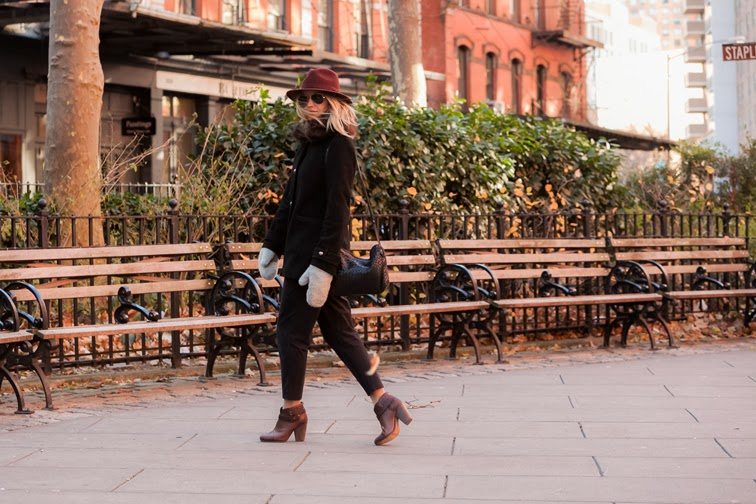 Tibi pinstripe pants Rag & Bone brown leather Harrow boots Bailey of Hollywood burgundy wide brim hat