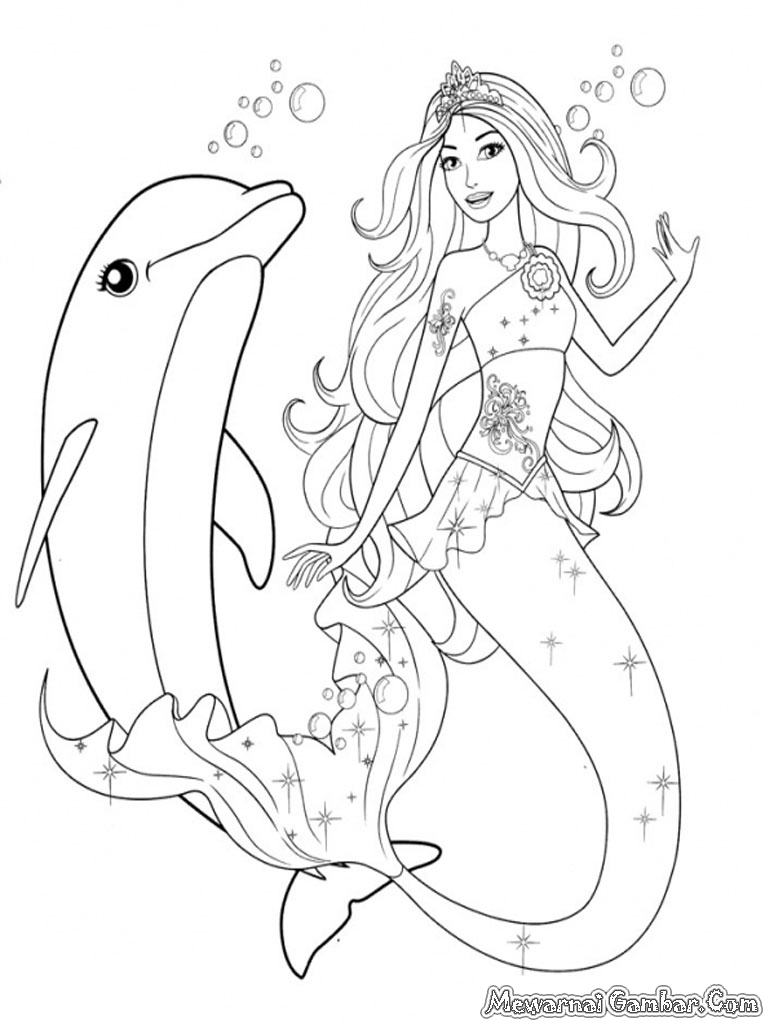 mermaid and dolphin coloring pages - photo#12