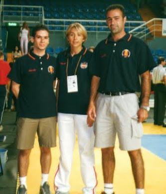 Miguel junto a Elena Benítez (seleccionadora nacional) y Miguel Santiago (Club Taekion)