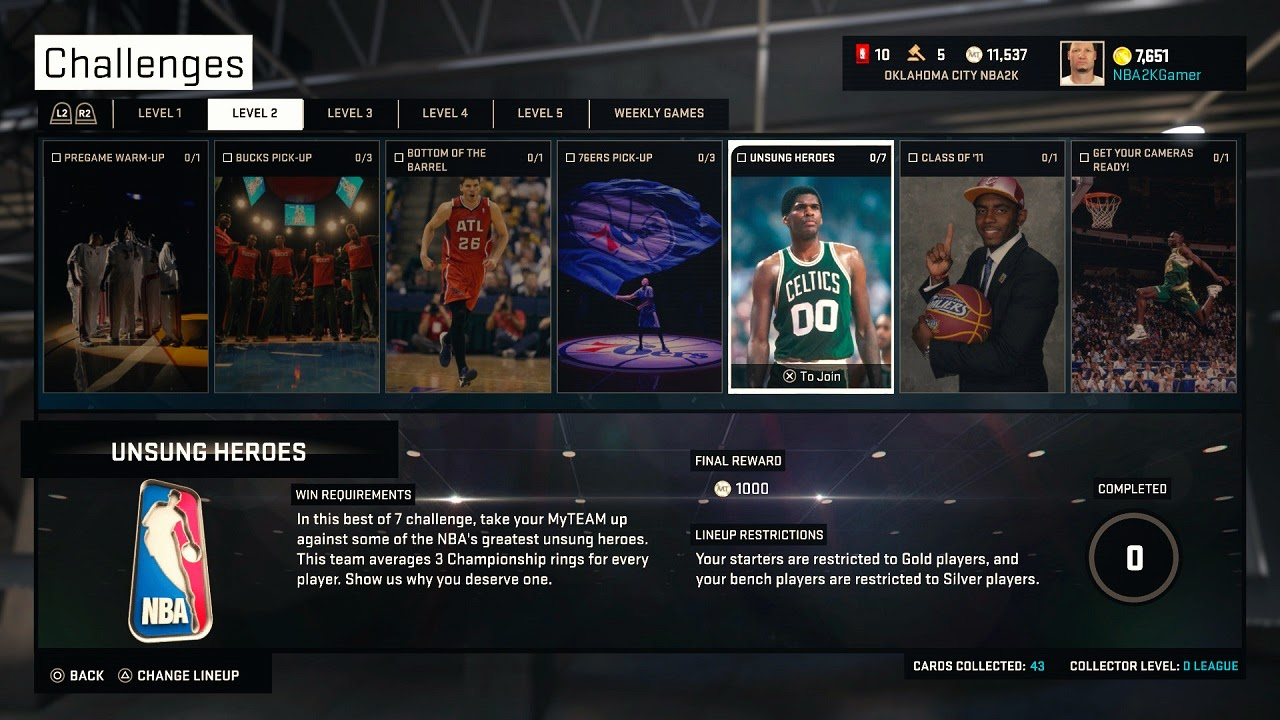 NBA 2K15 MyTEAM Challenges