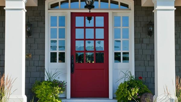 Vintage Swim Suit Exterior Paint Red Door Grey House