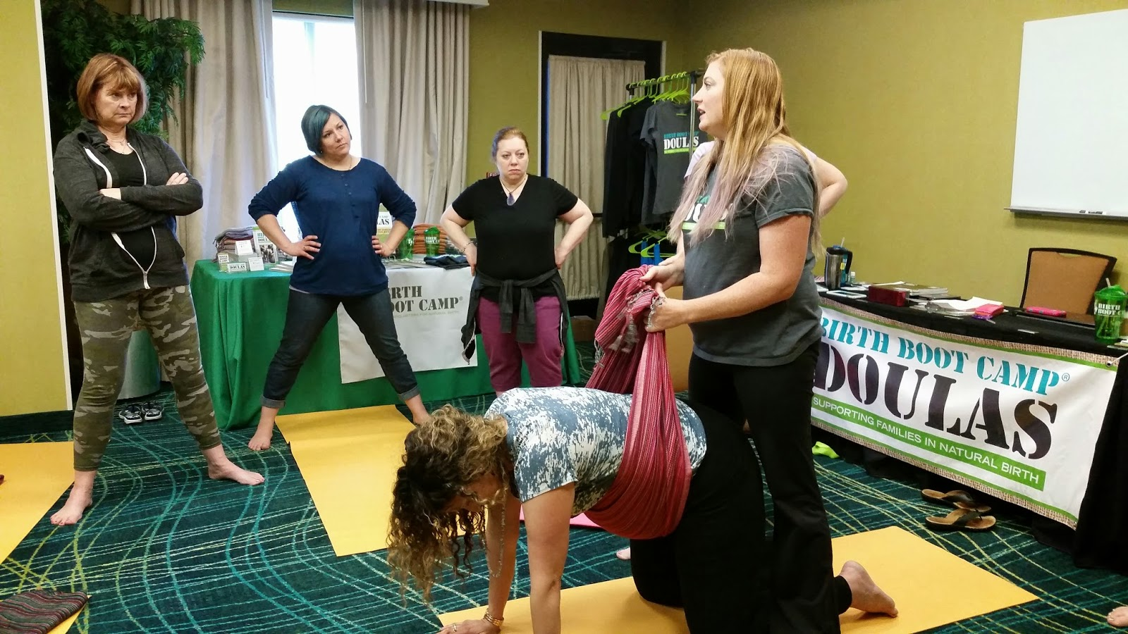 Rebozo techniques at Birth Boot Camp DOULA training