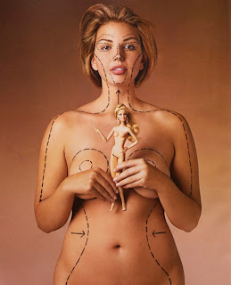 A woman holding a barbie, outlined on her skin is the shape of how the barbie is proportioned, she looks frightening.