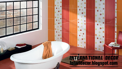 colorful striped wall tile design for bathroom