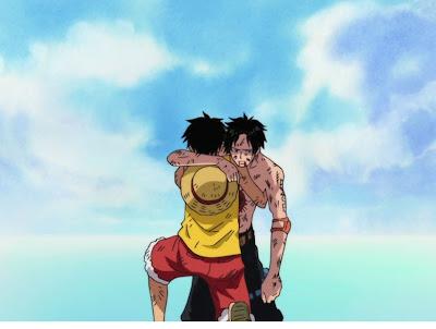 Luffy dan Ace berpelukkan