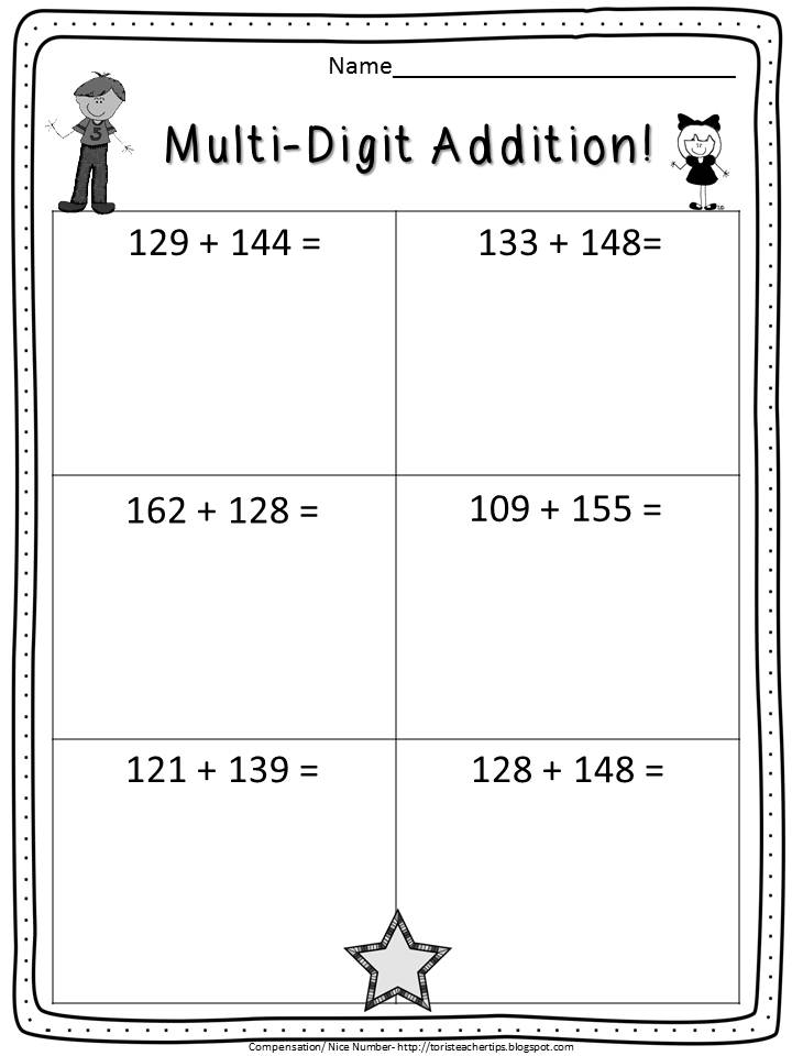 Toris Teacher Tips Double digit ADDITION no algorithms allowed – Multi Digit Addition and Subtraction Worksheets