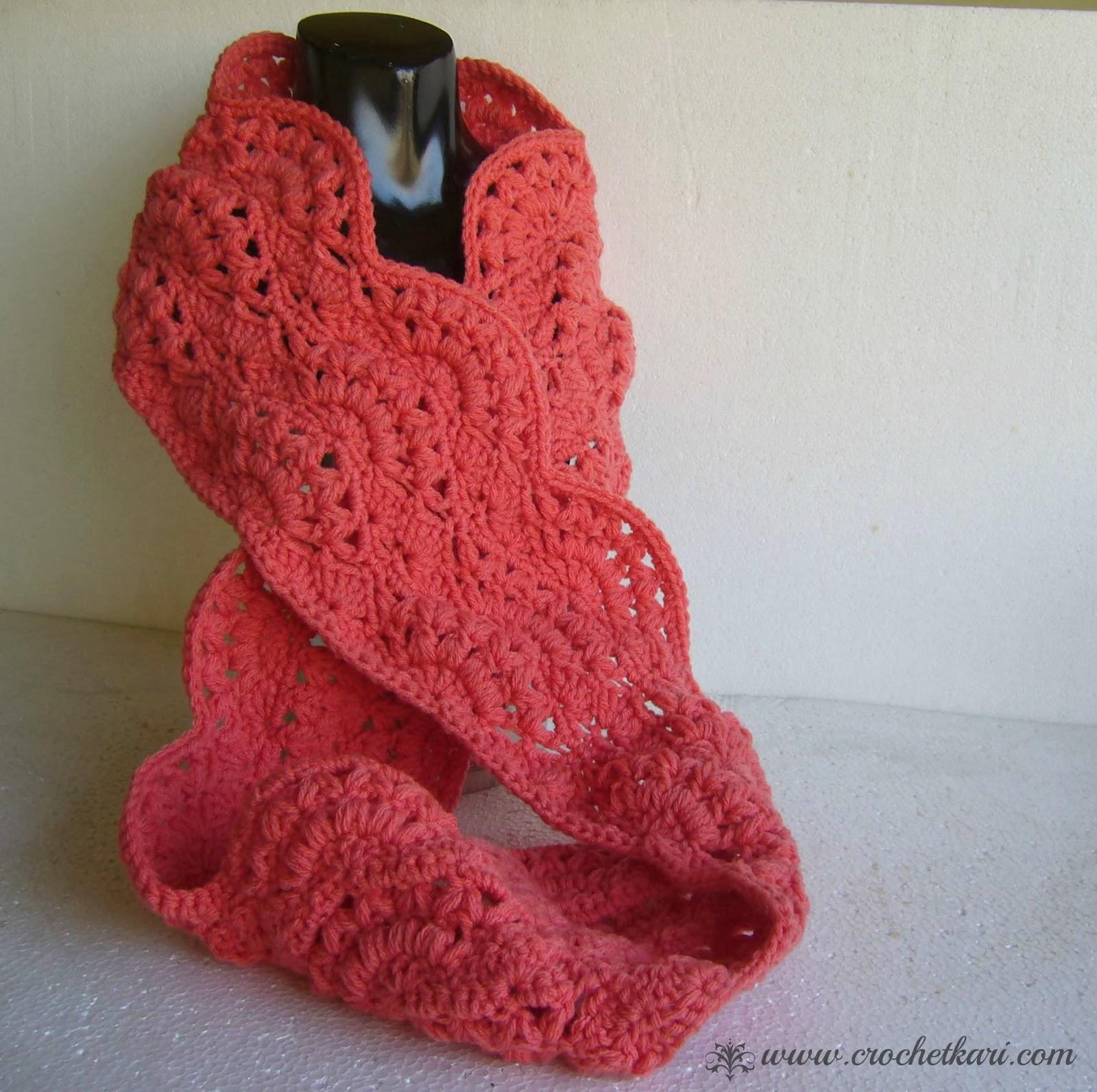 crochet autumn sunset infinity scarf