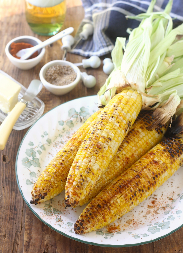 Grilled corn with sichuan pepper sea salt and smoked serrano chili powder by SeasonWithSpice.com