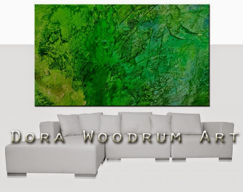 "Original Abstract Painting ""Green Earth"" by Artist Dora Woodrum"