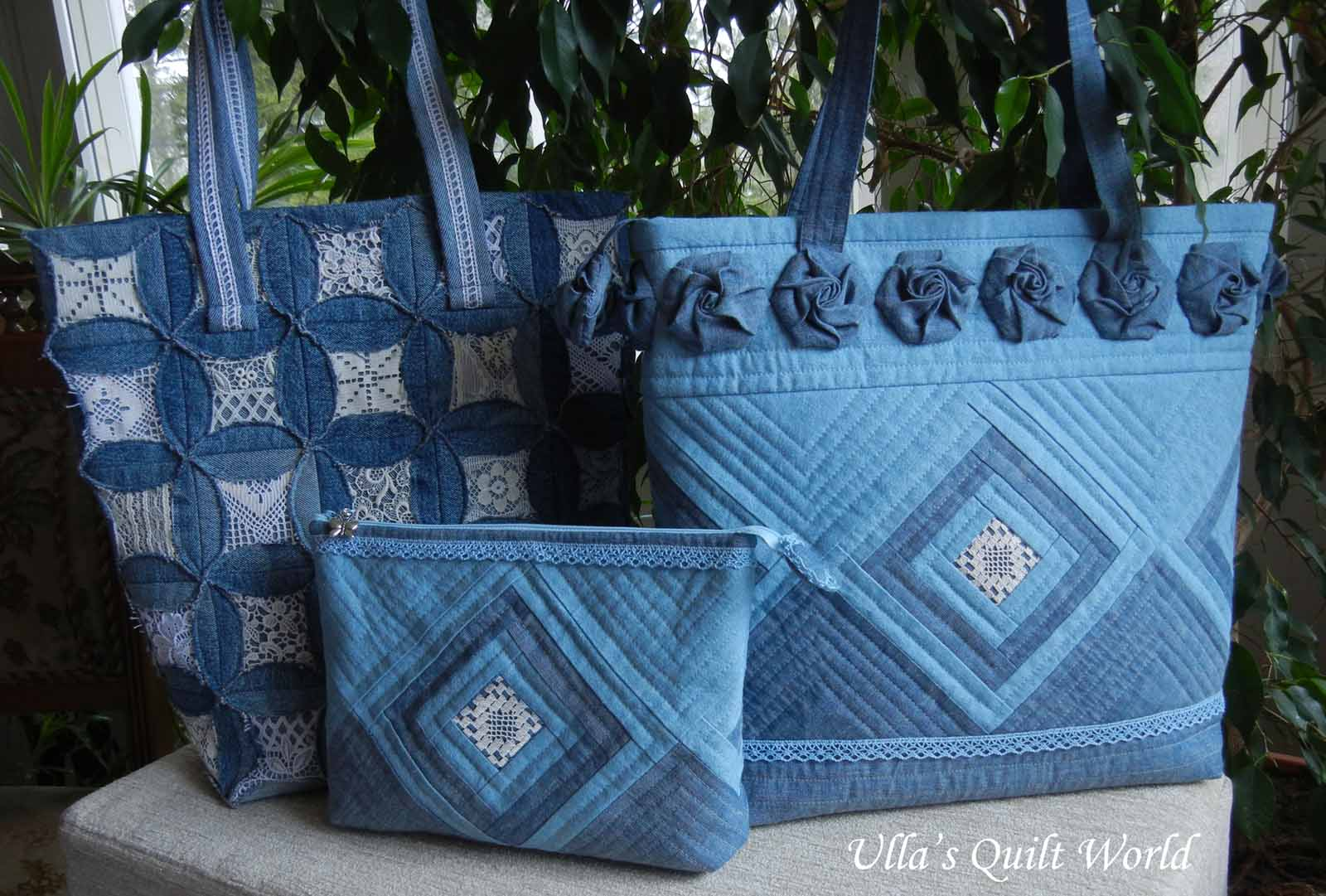 Ulla's Quilt World: Quilted pouch and bag + Cathedral ...