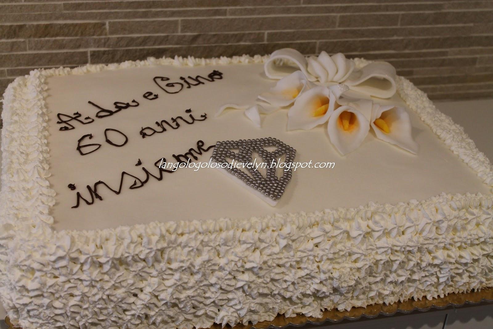 Torta nozze di diamante pasta di zucchero for Decorazioni per torta 60 anni