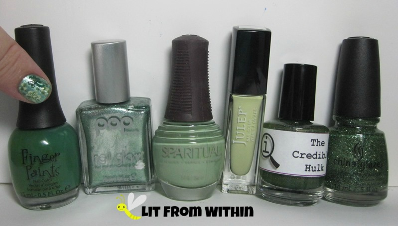 Bottle shot:  Finger Paints Go Van Gogh!, Pop Jade Metal, SpaRitual Introspective, Julep Adrianna, LynBDesigns The Credible Hulk, and China Glaze This is Tree-Mendous.