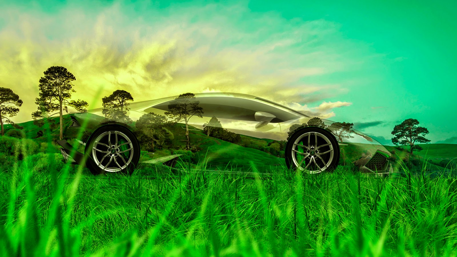 Perfect Genial Mazda RX 7 JDM Tuning 3D Crystal Nature Car 2015 Green Grass Style  4K Wallpapers