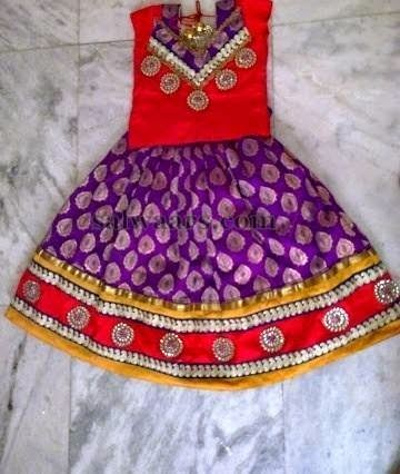 Purple and Red Benaras Kids Skirt