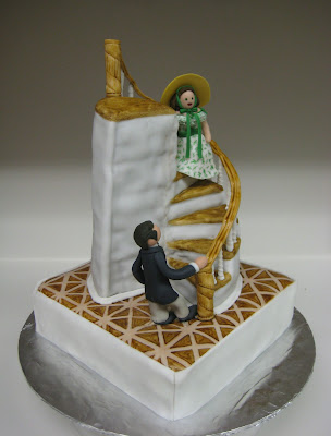 Gone With the Wind Staircase Cake with Rhett & Scarlett Figures - Angled View