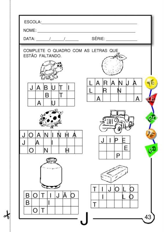 Top Simone Araujo Santos: Atividades com a Letra J WF96