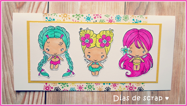 "scrap Postal con tres haditas ""Magic Bean Collection"" de The Greeting Farm para el reto de Copic España"