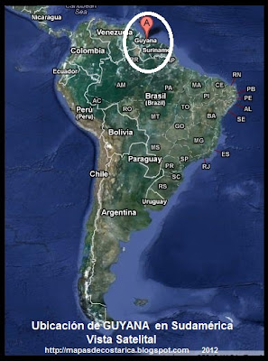 Ubicación de GUYANA en Sudamérica, Vista Satelital