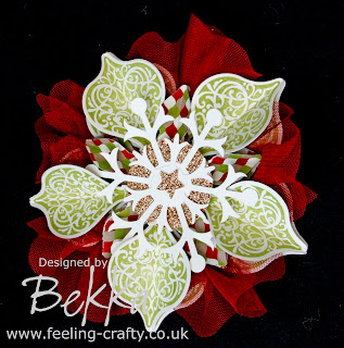 Stunning Christmas Ornament Decoration by Bekka using Stampin' Up!'s Ornament Keepsake Stamp Set and the lovely Snow Flurry Die - you can buy everything you need to make this at www.feeling-crafty.co.uk