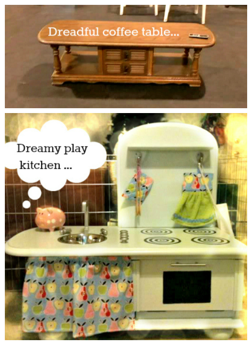 Upcycle coffee table play kitchen the refab diaries for Play kitchen table