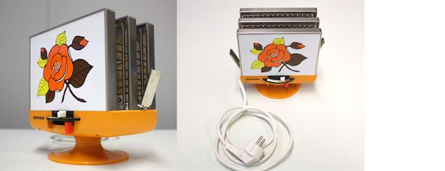 Weiß oranger Siemens Toaster Vintage, mit Blumendekor gelb, orange, braun, 60s, 70s, super Zustand, sieht fast aus wie neu