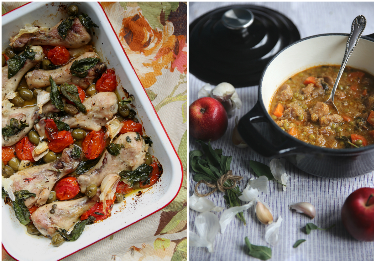 Green Olive Chicken With Tomatoes And Basil, Recipe In My Petite Kitchen  Cookbook. Apple And Sage Pork Cassoulet, Recipe Here.