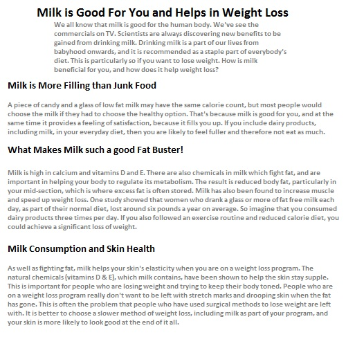will dairy help in weight loss