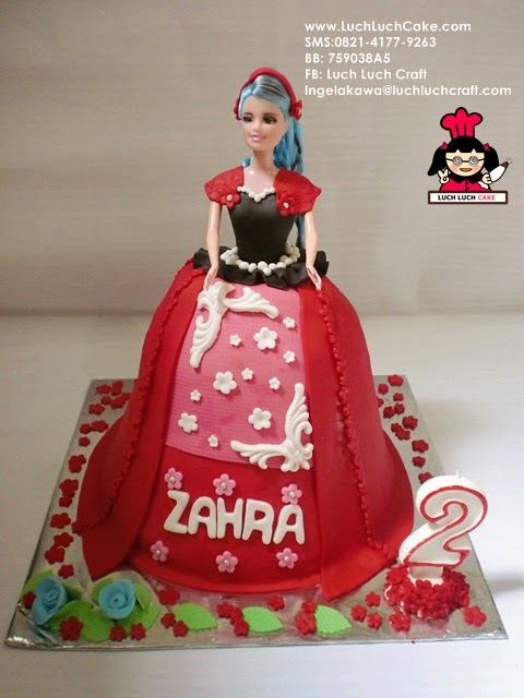 Kue Tart Princess Barbie Merah