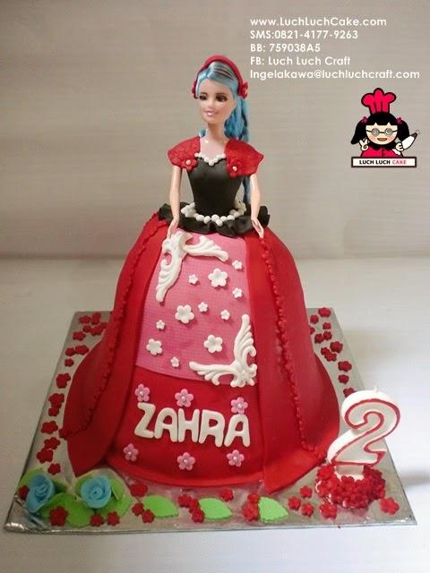 Kue Tart Princess Barbie Merah