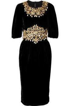 baroque embellished dolce and gabbana black velvet dress