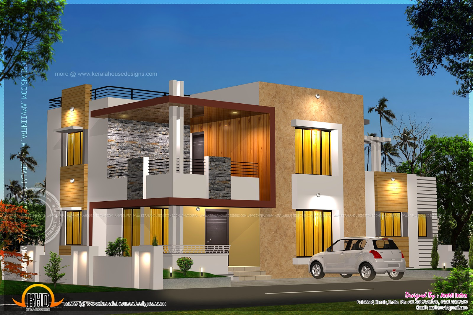 Floor plan and elevation of modern house kerala home for Modern home blueprints