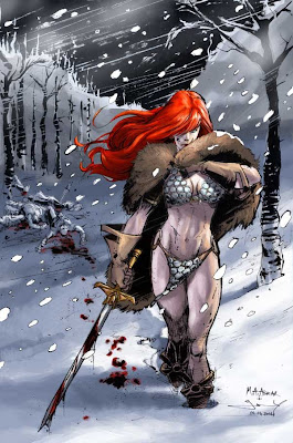 red sonja winter warrior woman