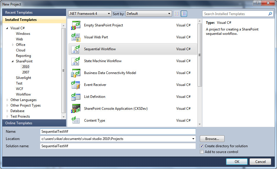 Sharepoint shell creating a sharepoint sequential visual studio 1open visual studio run as administrator select sequential workflow under sharepoint 2010 template enter the project name pronofoot35fo Images