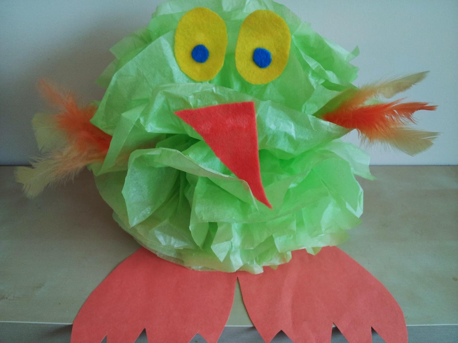 Easter chick craft, tissue paper crafts, kids crafts