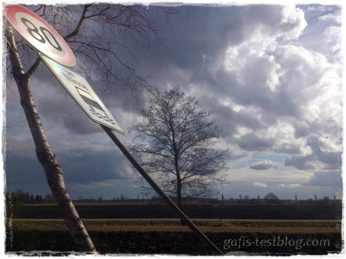 Landschaftsaufnahe aus dem Auto fotografiert