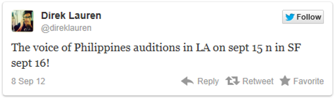 The Voice Ph audition San Francisco tweeted by Direk Lauren