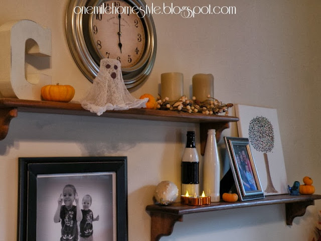 Shelves with Halloween Decor