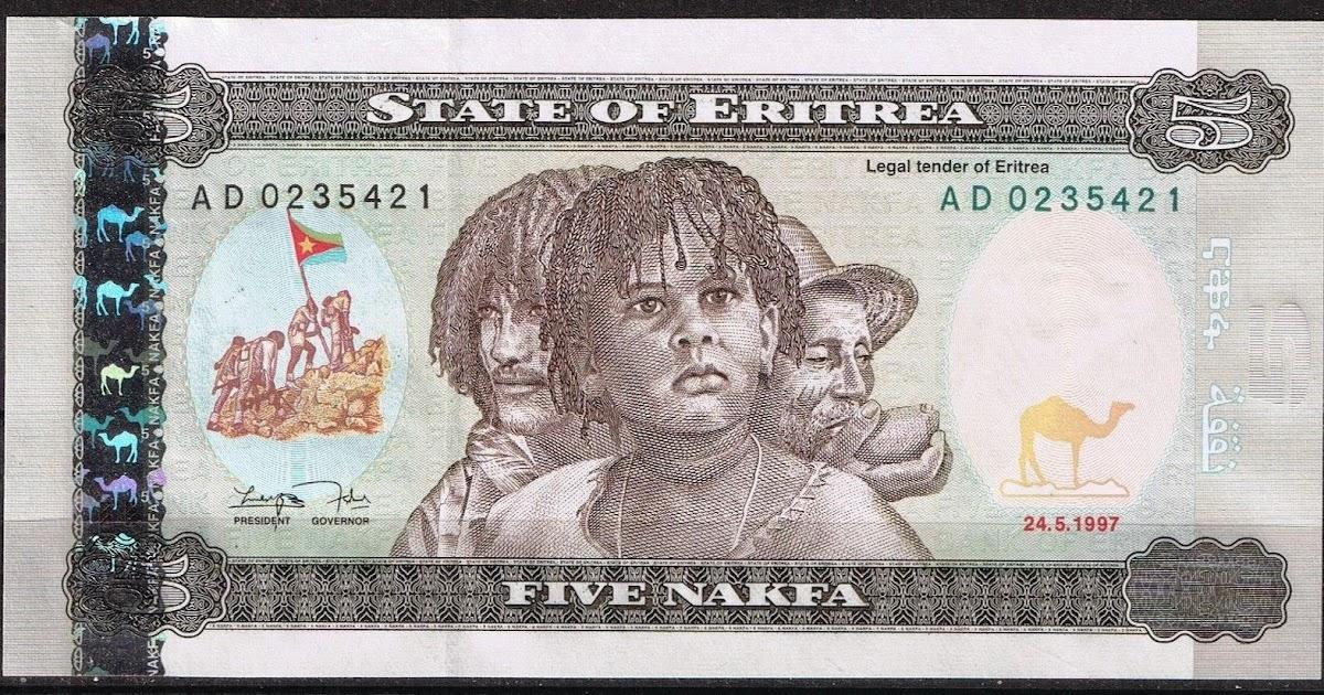 eritrea 5 nakfa note 1997