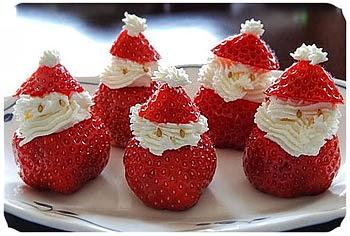 Doces para Ceia de Natal - Morango Papai Noel