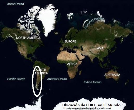 Ubicación de CHILE en El Mundo, BING