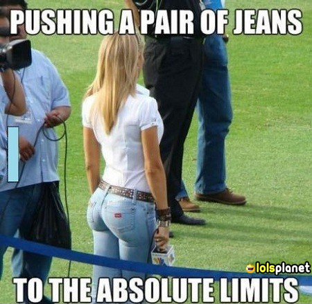 alright this is now pushing a pair of jeans to its extent, thats just some show off from the woman,but that will be liked by most of the boys i would say. funny picture,epic dressed girl.