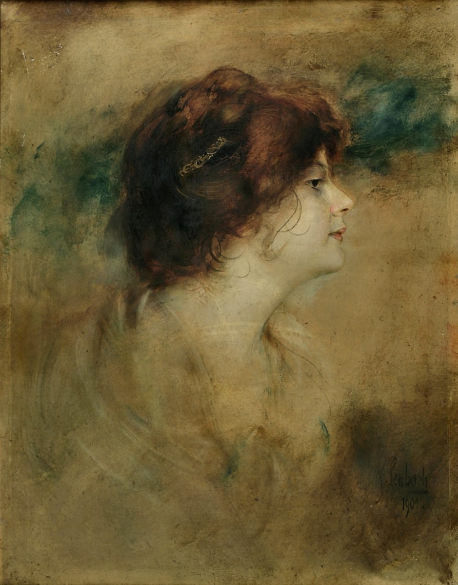Franz  von  Lenbach  portrait  of  a  woman  in  profile