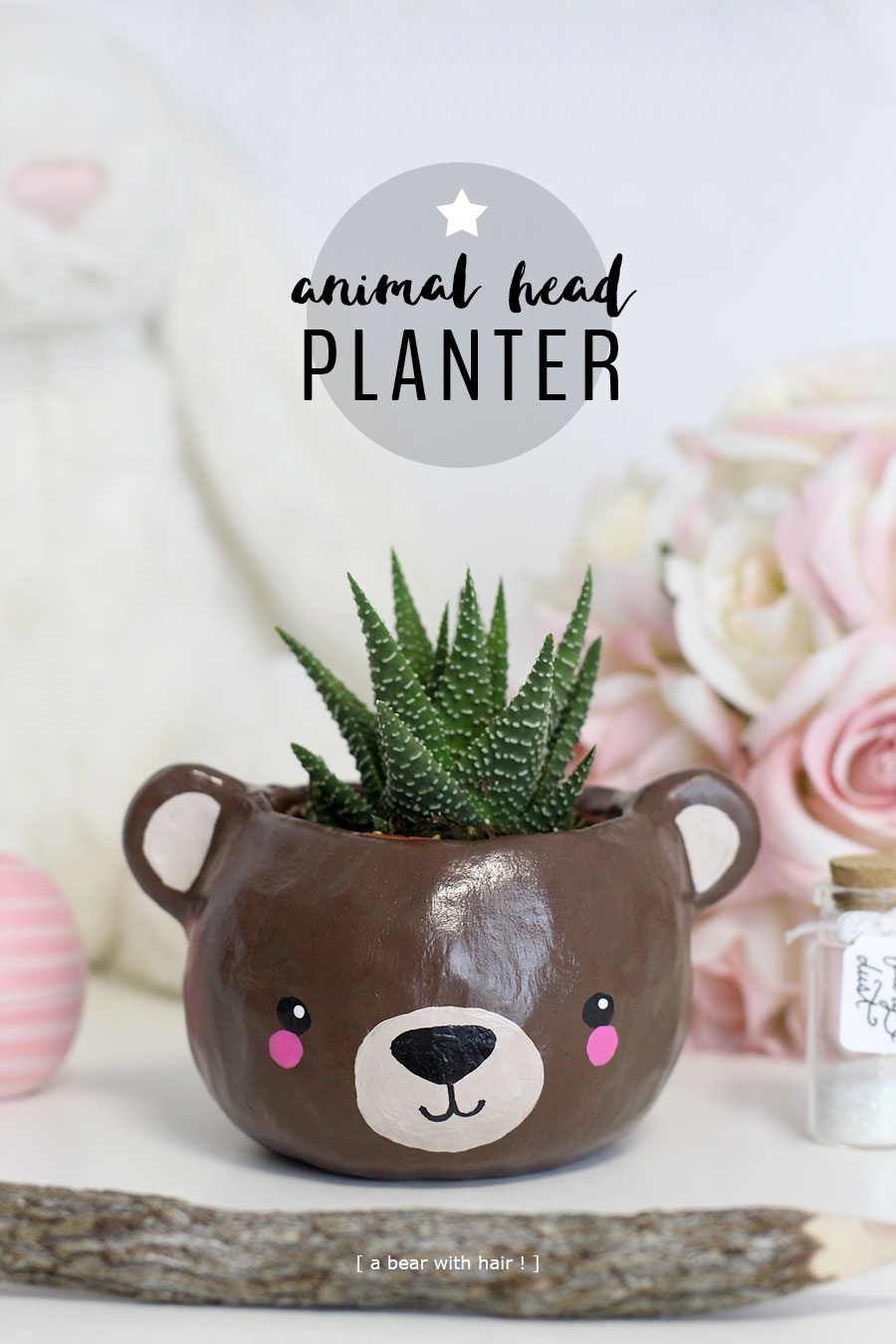 Adorable polymer clay succulent animal (bear) head planter. It looks like hair!