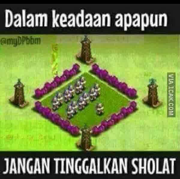DP BBM Meme Main COC Ingat Sholat