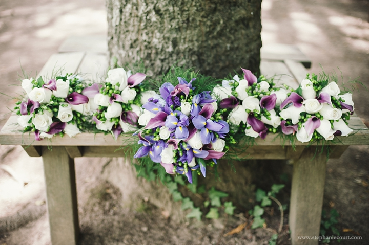 """purple and ivory bridal bouquets"""