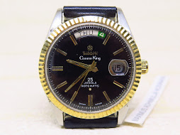 TITONI COSMO KING PRESIDENT MODEL BLACK DIAL - FLUTED GOLD BEZEL 14k - 25 JEWELS ROTOMATIC
