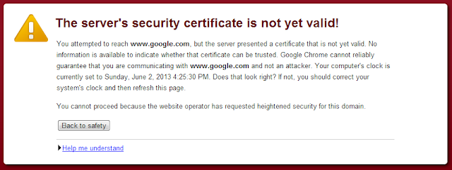 The server's security certificate is not yet valid in Chrome