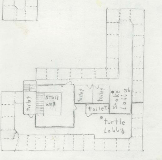 This was my floor. The third floor was similar, and the fourth floor I'll describe later.. The dotted lines separate rooms; I left the doors off for visual clarity. You can see how small our rooms were; mostly around ten feet square. Most were singles, but the larger rooms had two to four beds. The thing in the corner is part of my map of the third floor. I couldn't figure out how to cover it up.